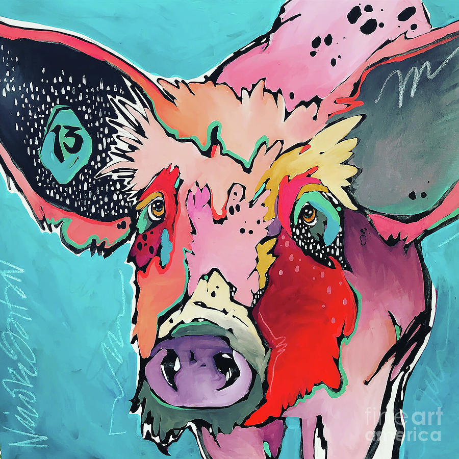 Pig Painting - Babe by Nicole Gaitan
