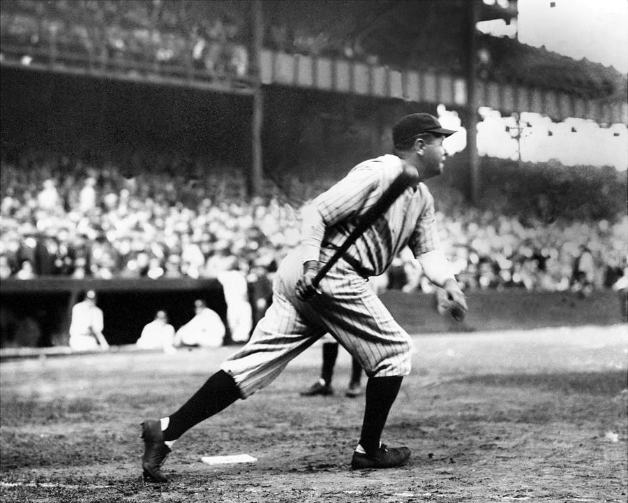 Usa Photograph - Babe Ruth Batting During The 1926 by New York Daily News Archive