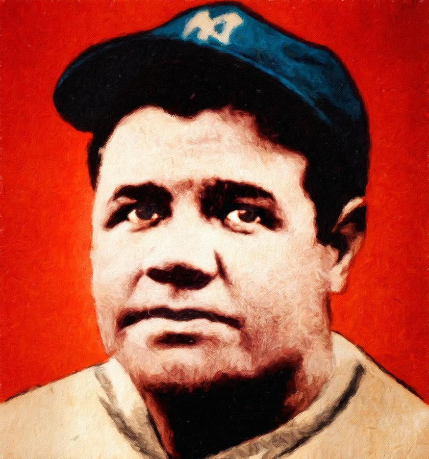 Babe Ruth Painting - Babe Ruth, Portrait by Vincent Monozlay