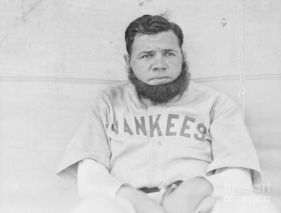 Babe Ruth Posing In Fake Beard Photograph by Bettmann