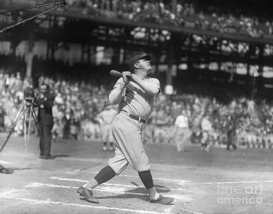 Babe Ruth Practicing Photograph by Bettmann