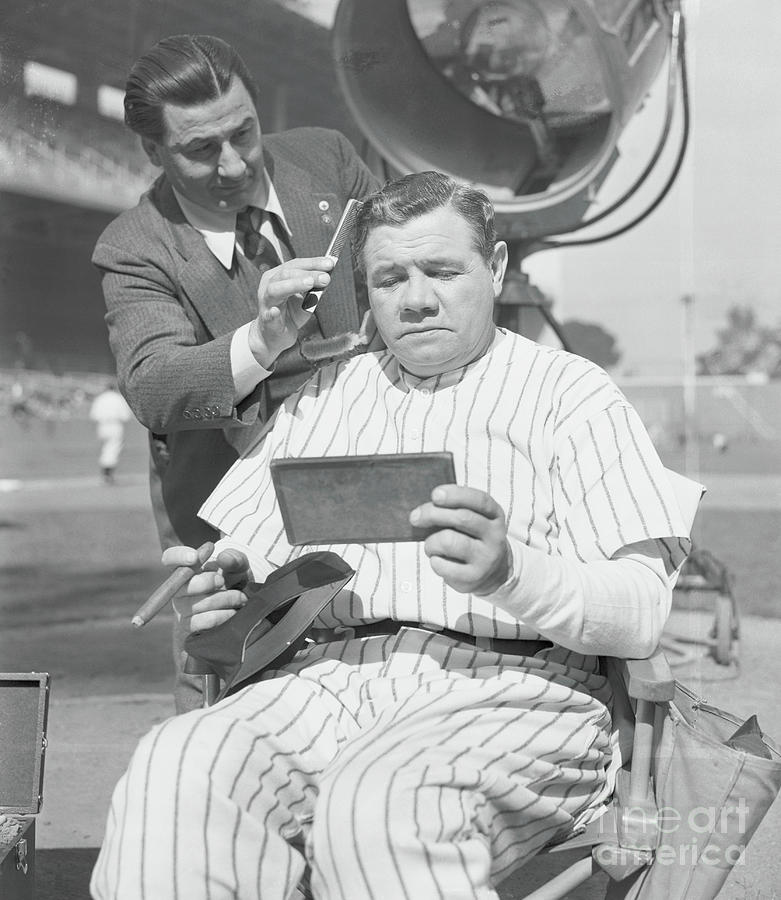 Babe Ruth Receiving Makeup For Movie Photograph by Bettmann