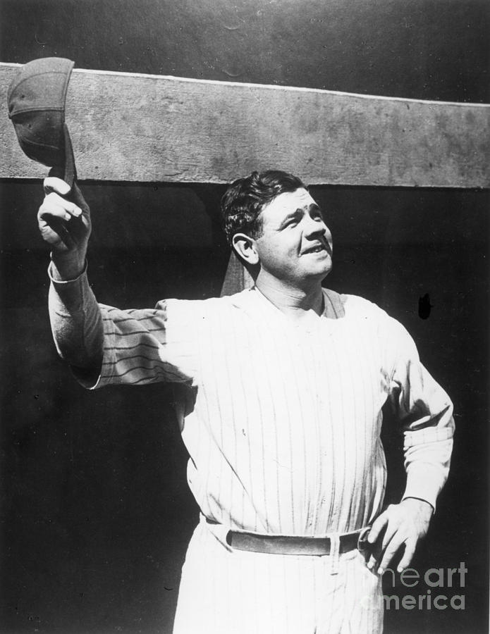 Babe Ruth Salutes The Crowd Photograph by Transcendental Graphics