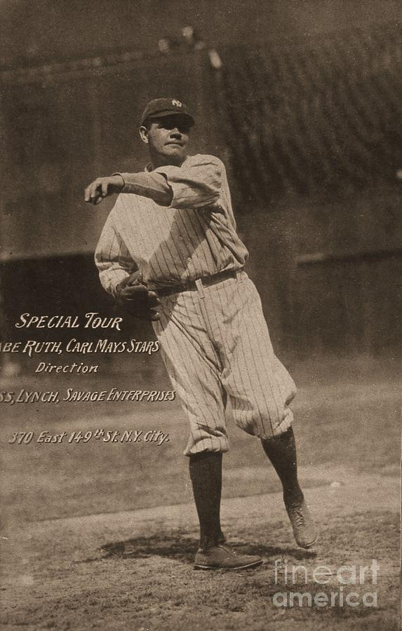 Babe Ruth Special Tour Postcard Photograph by Transcendental Graphics