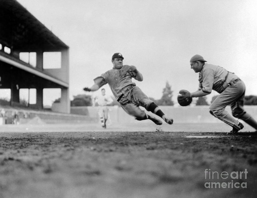 Babe Ruth Stealing Home Photograph by Bettmann