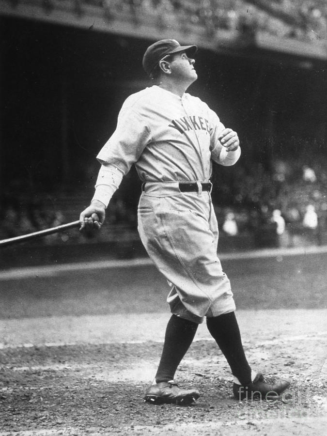 Babe Ruth Watches One Fly Photograph by Transcendental Graphics