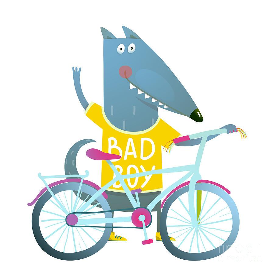 Bad Digital Art - Baby Boy Wolf Or Dog Character Greeting by Popmarleo