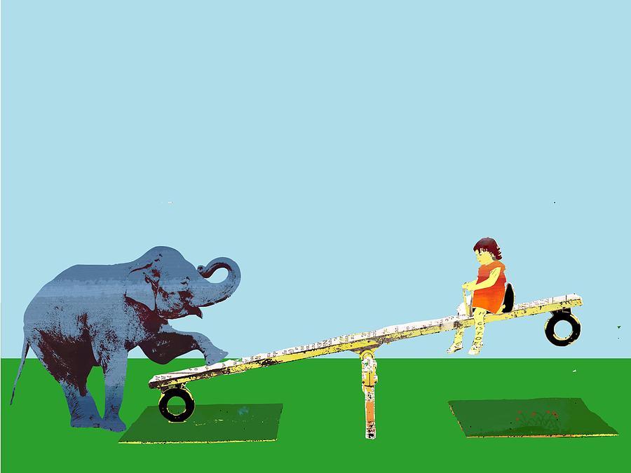 Baby Elephant See Saw Digital Art