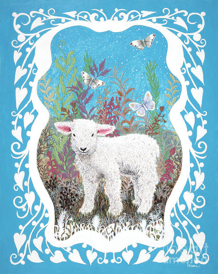 Baby Lamb with White Butterflies by Lise Winne