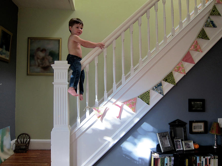 Baby On A Bannister Photograph by Cyndi Monaghan