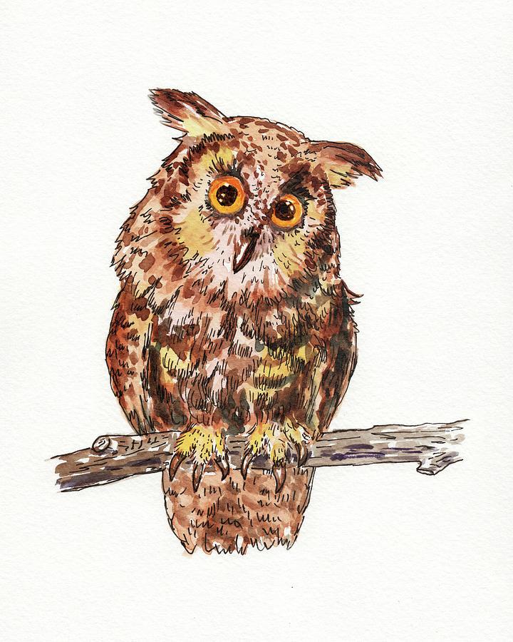 Baby Owl Watercolor For Baby Room  by Irina Sztukowski
