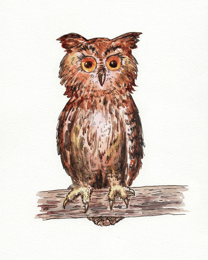 Baby Owl Watercolour For Baby Room  by Irina Sztukowski