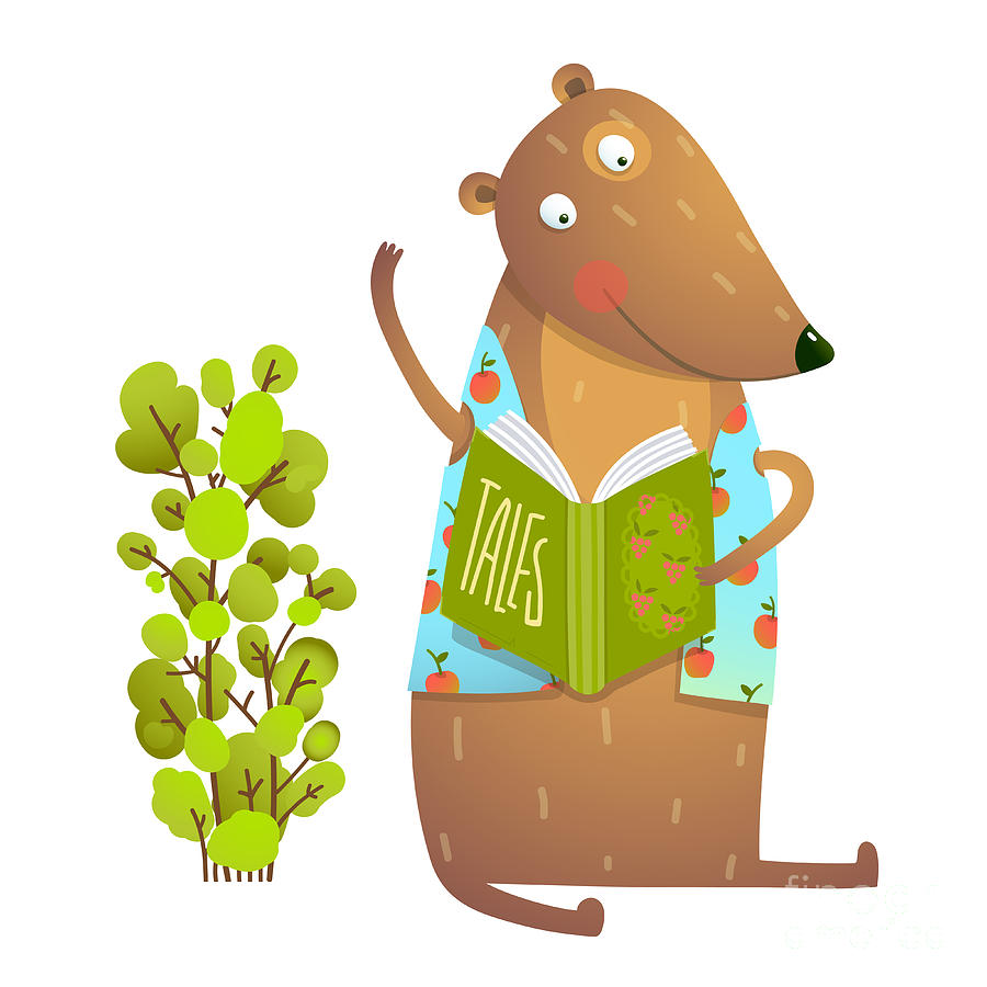 Study Digital Art - Baby Teddy Bear Character Reading Book by Popmarleo