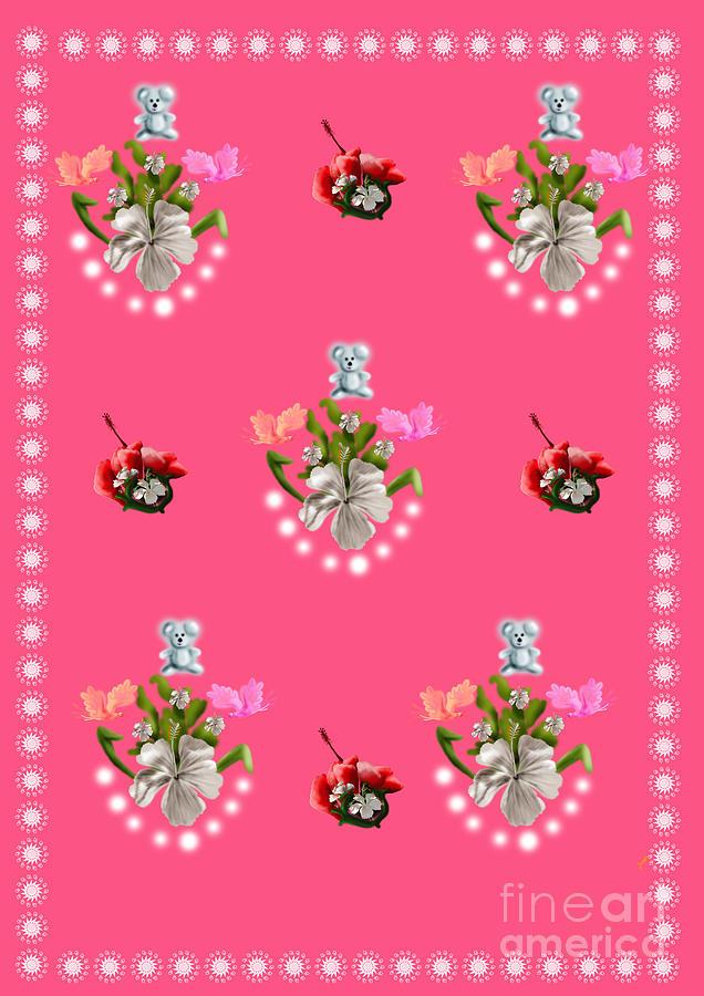 Baby Teddy With Hibiscus Flower Digital Art