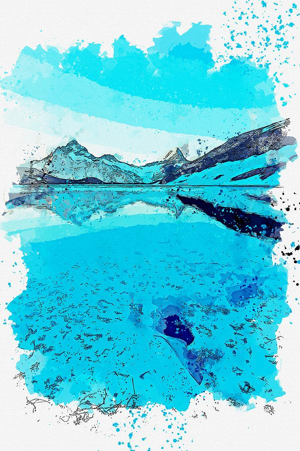 Bachalpsee, Grindelwald, Switzerland -  Watercolor By Adam Asar Painting