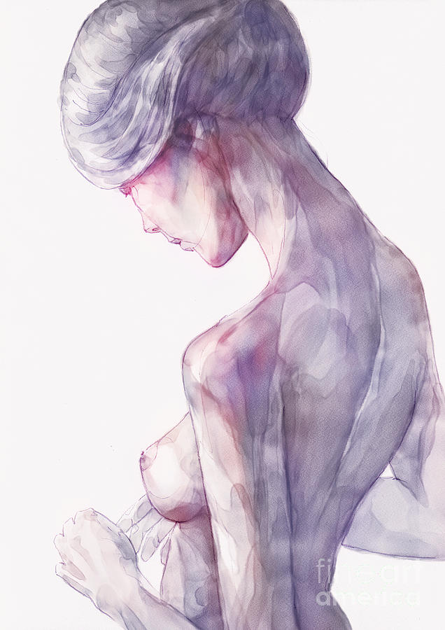 Back Side Watercolor Portrait of a Girl by Dimitar Hristov
