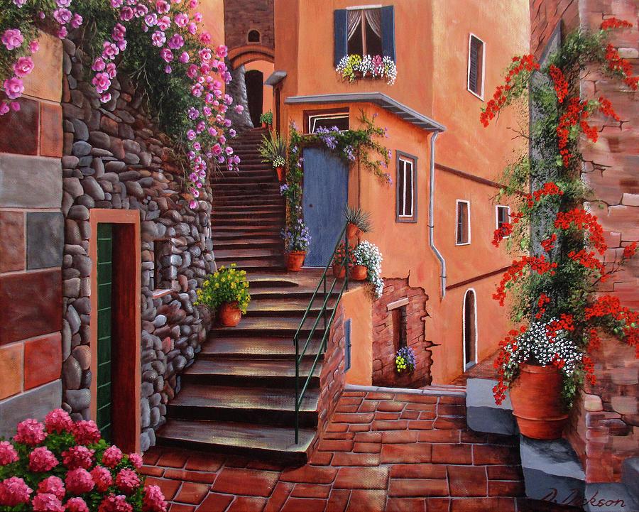 Back streets of Vernazza, Cinque Terra, Italy by Debra Dickson