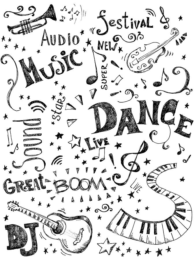 Background Made Up Of Music Doodles Digital Art by Kalistratova