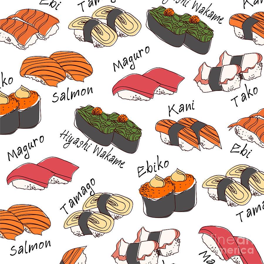Tuna Digital Art - Background Sushi Set Vector by Wanpatsorn