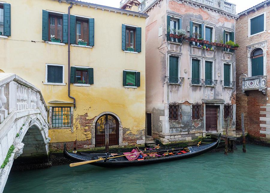 Venice Photograph - Backstreet Canal With Bridge by Georgia Fowler