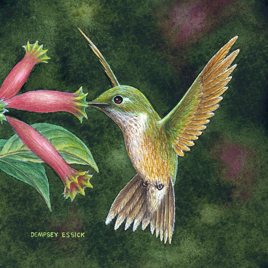 Hummingbirds Painting - Backyard Jewel by Dempsey Essick
