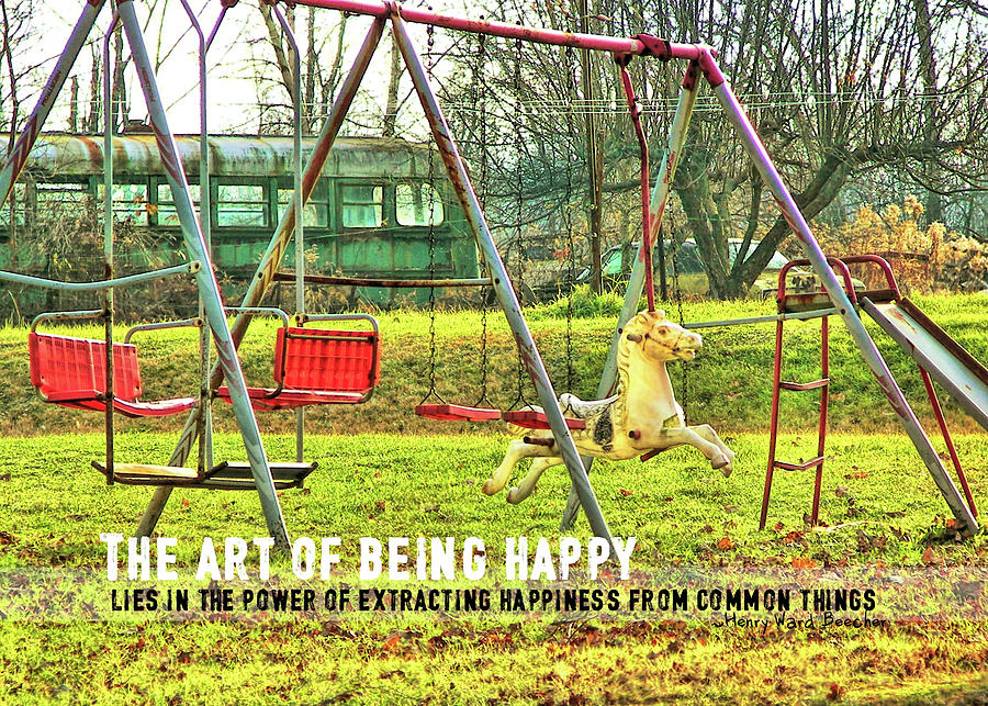Swing Photograph - Backyard Play Quote by JAMART Photography
