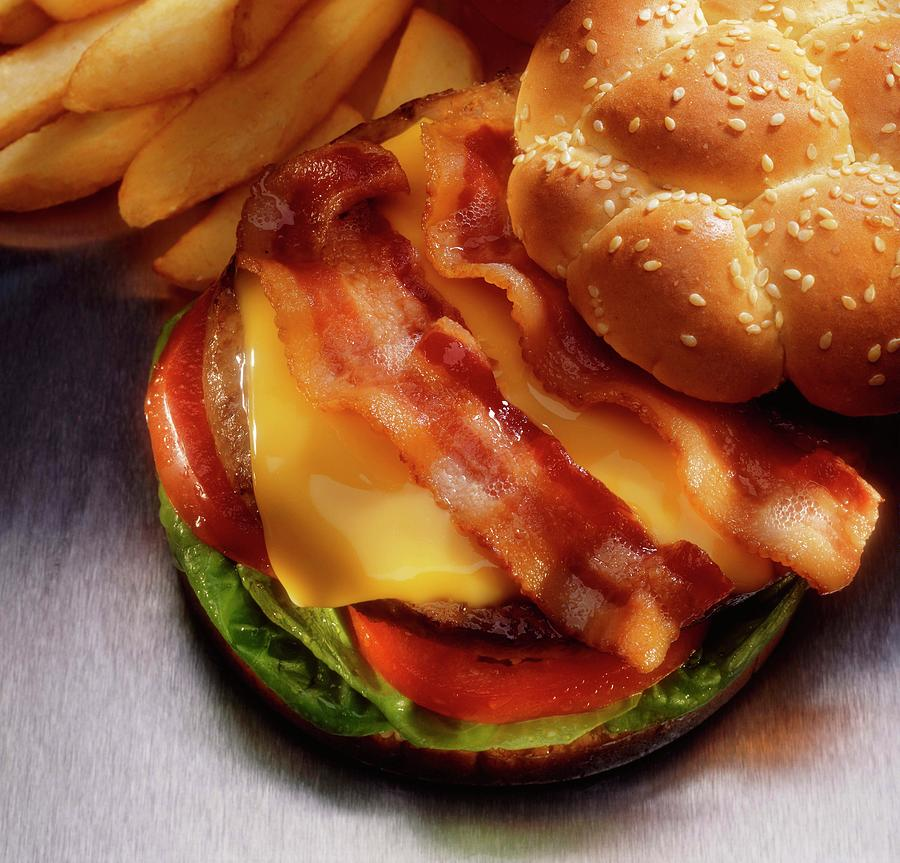 Bacon Cheeseburger With French Fries Photograph by Jupiterimages