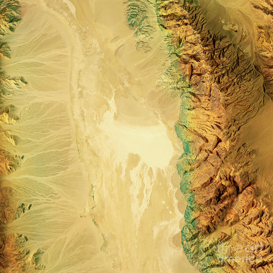 Badwater Digital Art - Badwater Death Valley 3D Render Topographic Map Color by Frank Ramspott