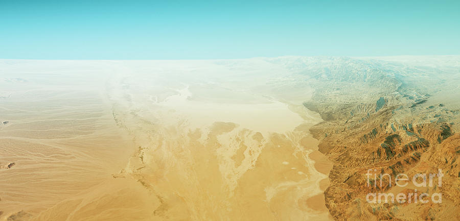 Badwater Digital Art - Badwater Death Valley 3D Render Topographic Map Horizon by Frank Ramspott