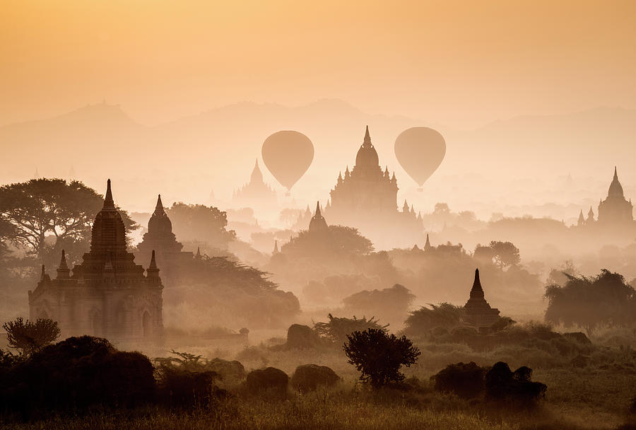 Bagan, Balloons Flying Over Ancient Photograph by Martin Puddy