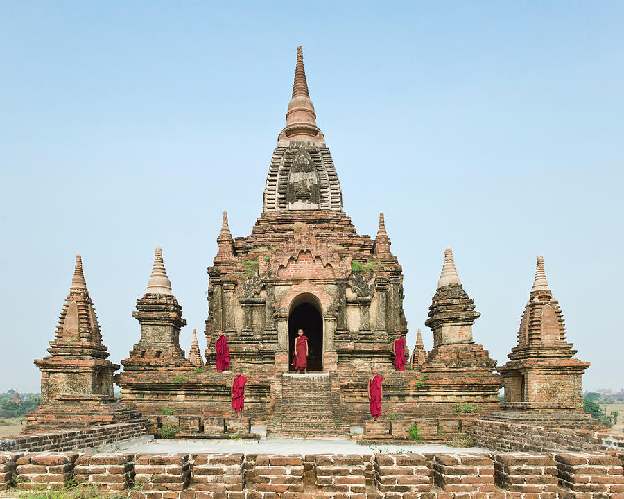 Bagan,buddhist Monks Standing On Temple Photograph by Martin Puddy