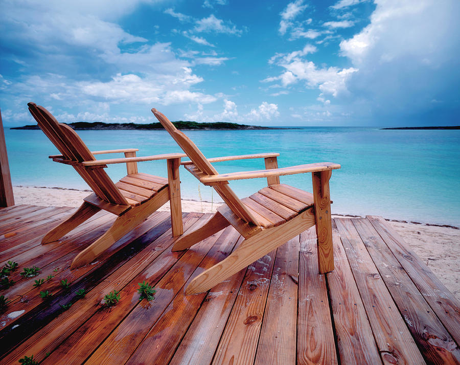 Bahamas, Deck Chairs On Jetty Photograph by Westend61