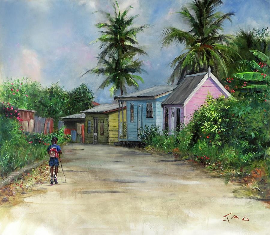 Barbados Painting - Bajan Road by Jonathan Gladding