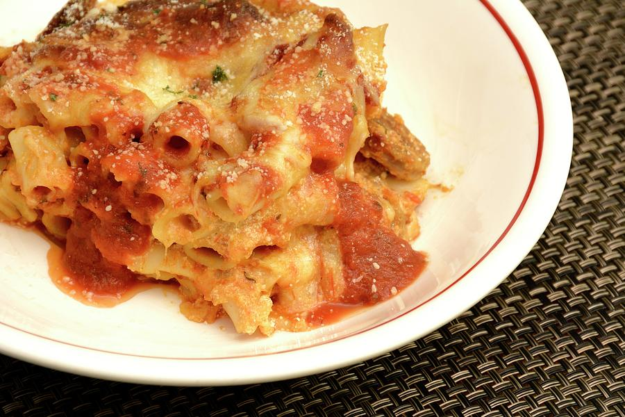 Food Photograph - Baked Ziti Serving 2 by Angie Tirado