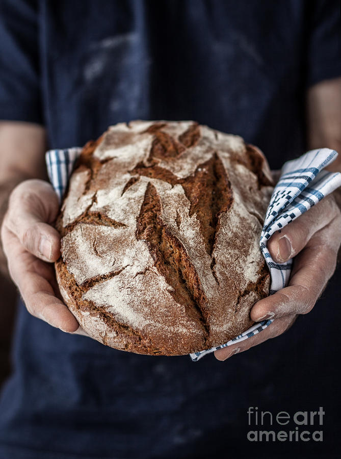 Small Photograph - Baker Man Holding Rustic Organic Loaf by Pinkyone