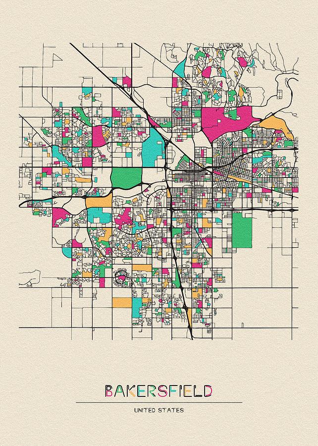 Bakersfield, California City Map Digital Art by Inspirowl Design on