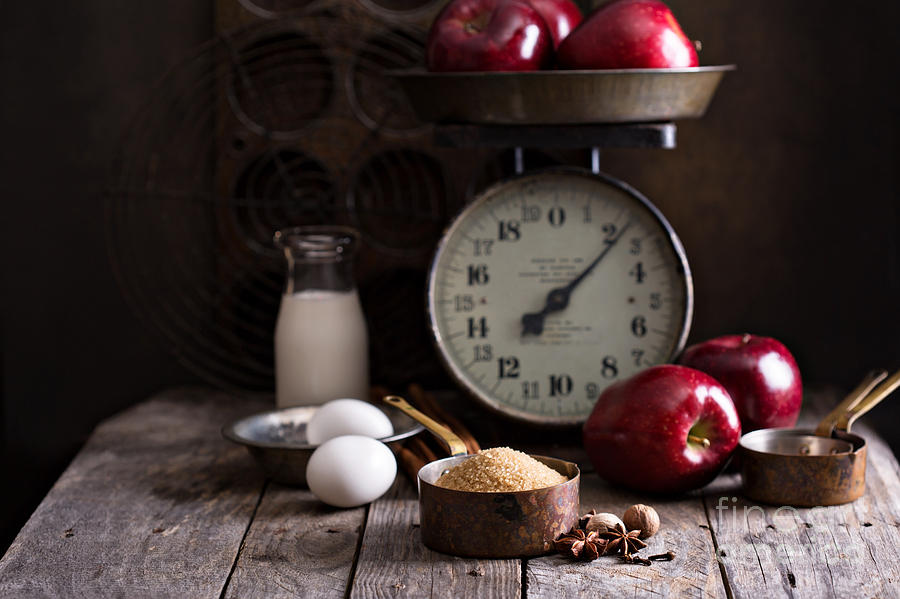 Nut Photograph - Baking Ingredients On Rustic Table by Elena Veselova