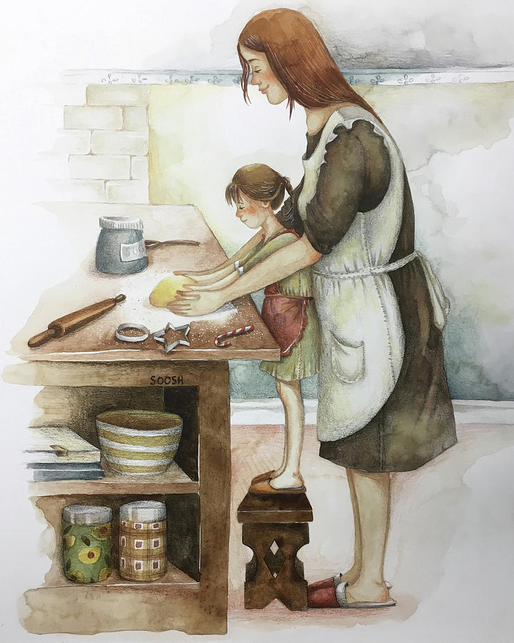 Soosh Drawing - Baking with loved ones by Soosh