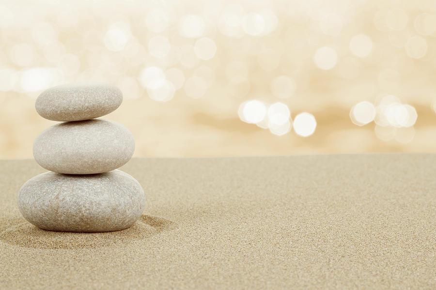 Balance Zen Stones In Sand On White Photograph By Artush Foto