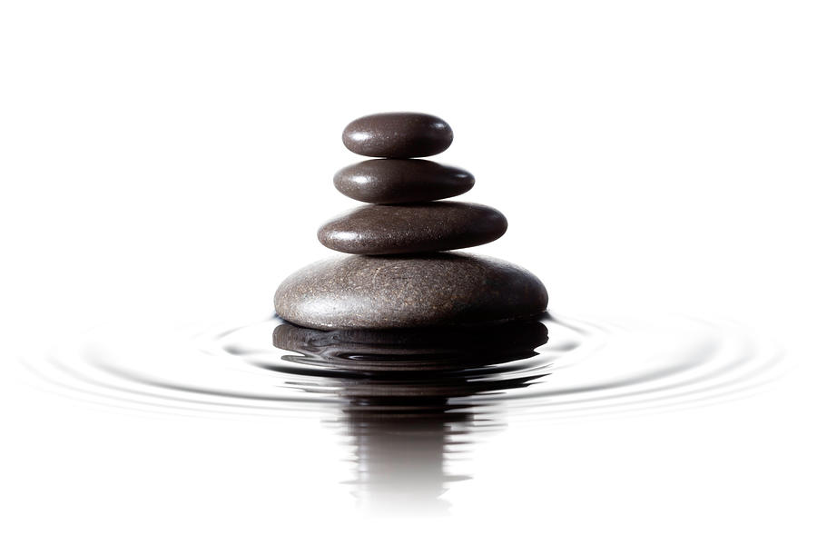 Balanced Black Stones In Water - Feng Photograph by Thomasvogel