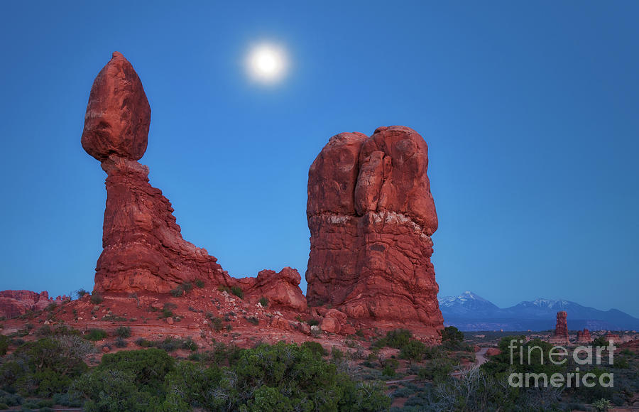 Balanced Rock by Moonlight by Sharon Seaward