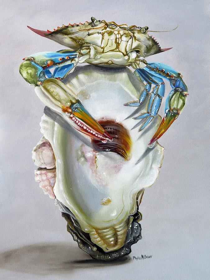 Crab Painting - Balancing Act by Phyllis Beiser