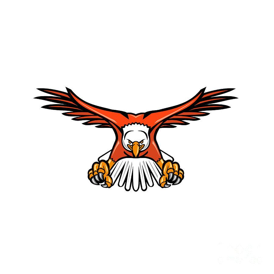 Mascot Digital Art - Bald Eagle Swooping Front Mascot  by Aloysius Patrimonio