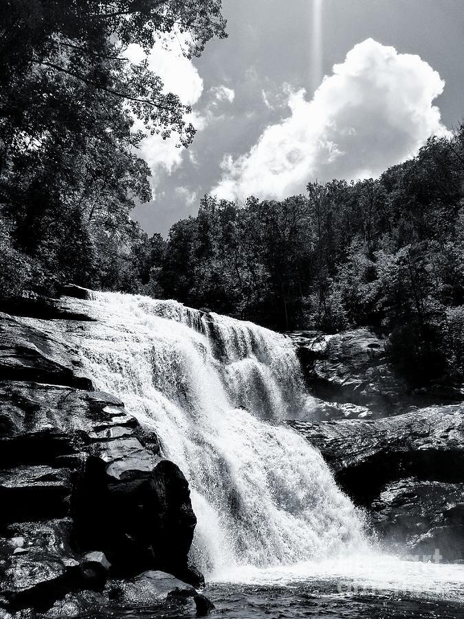 Bald River Falls Black And White by Rachel Hannah