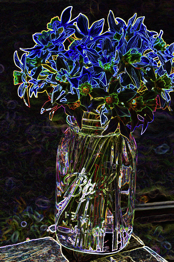 Ball Jar of Daffodils by Lesa Fine