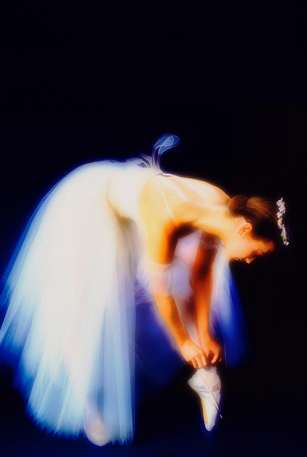 Ballerina Adjusting Shoe Soft Focus Photograph by Vladimir Pcholkin