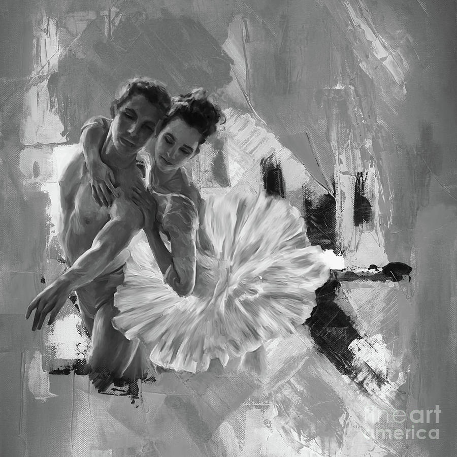 Ballerina Painting - Ballerina Couple Black And White  by Gull G