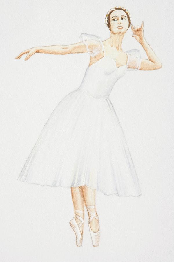Ballerina In White Calf-length Dress Digital Art by Dorling Kindersley