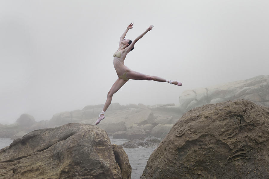 Ballerina Leaping From One Rock To Photograph by Dimitri Otis