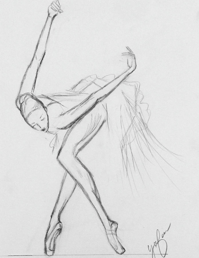 Ballerina Rough Sketch Drawing